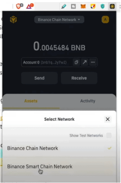 Cambiar a Binance Smart Chain Network