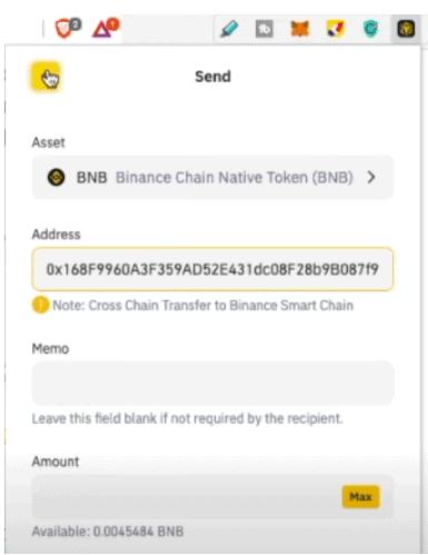 Copiar la dirección en la extensión de cartera de Binance Chain