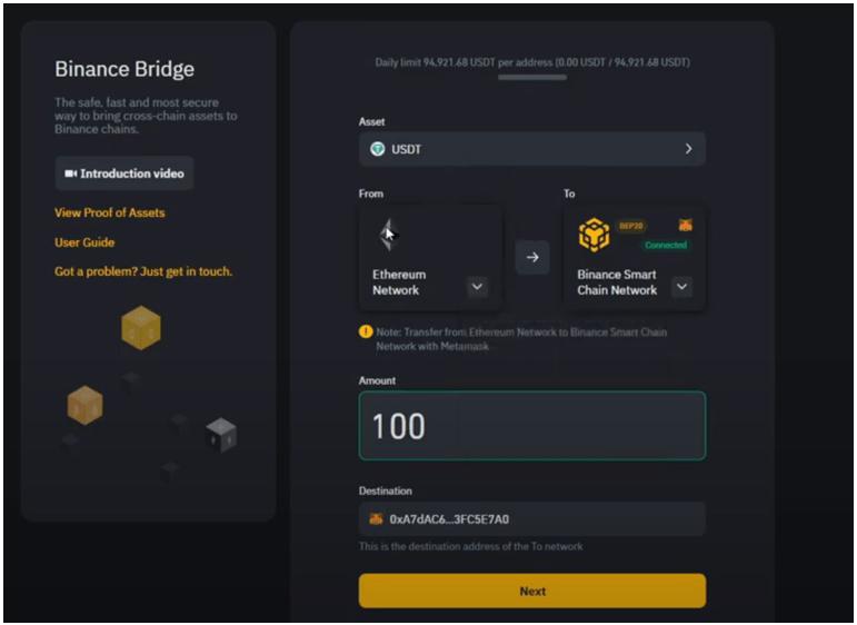 Binance Bridge seleciona tokens