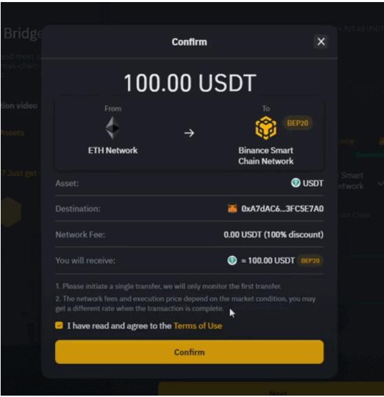 Página de confirmación de Binance Bridge